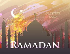 Ramadan Kareem. Ramadan Eid Mubarak. Month Of Fasting. Template For Creative Greeting Card, Arabic C