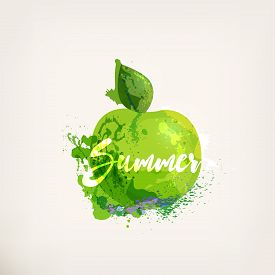 Watercolor Green Apple With Lettering. Apples Ink Painting. Sweet Fruit.colloorful Paint Blots And S