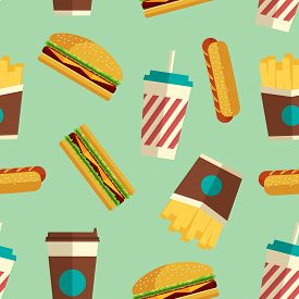 Fast Food Icons Pattern On Turquoise Background. Business Lunch Print. Modern Color. Minimalistic St