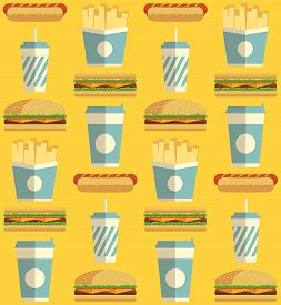 Fast Food Icons Pattern On Yellow Background. Business Lunch Print. Modern Color. Minimalistic Style