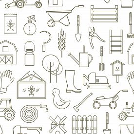 Line Seamless Pattern Icon Farmer, Gardening Tools On White Background. 30 High Quality Simple Linie