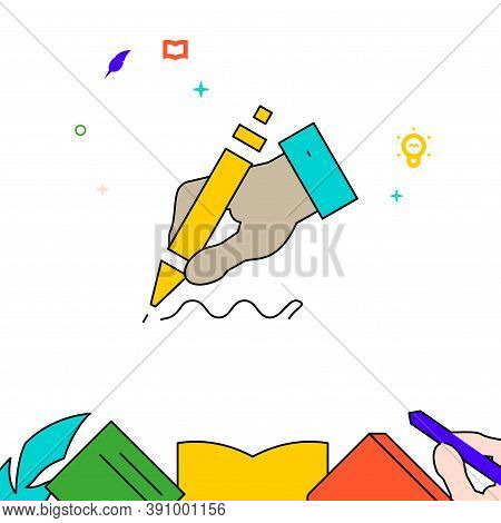 Hand Writes With Ballpoint Pen Filled Line Vector Icon, Simple Illustration, Education And Creativit