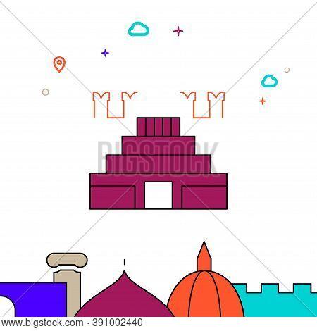 Lenin Mausoleum, Moscow Filled Line Vector Icon, Simple Illustration, World Landmarks Related Bottom