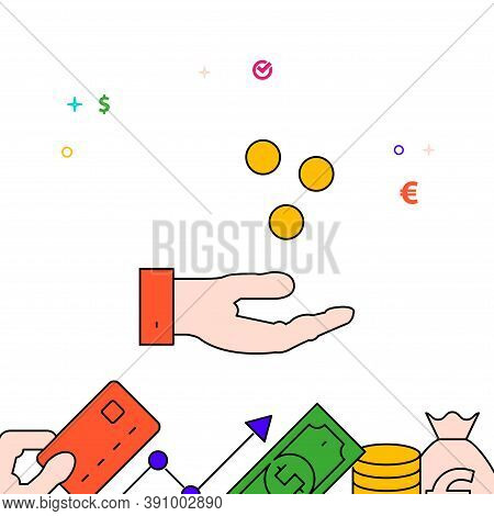 Hand Catches Coins, Salary Filled Line Vector Icon, Simple Illustration, Finance And Money Related B