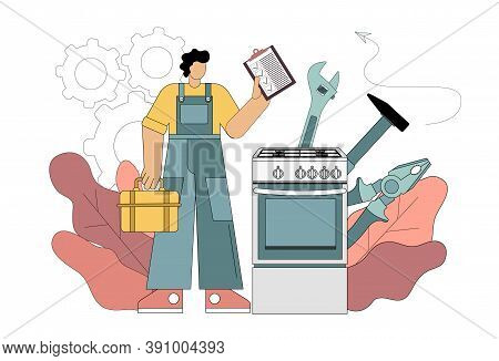 Repairman And Gas Stove Concept. Repairman Concept. Worker In The Form Of Repairing Household Applia