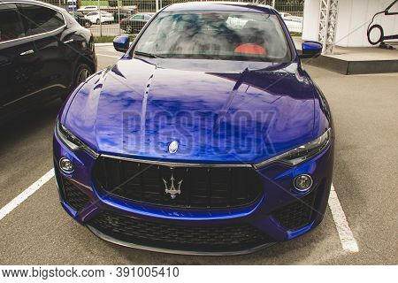Kiev, Ukraine - April 21, 2020: A Luxury Maserati Levante Car Parked In The City