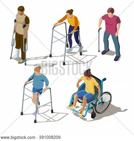 Isometric People With Leg Injuries, Bone Breaks Or Cracks, Fracture Of Foot, Orthopedic Problems. Ch