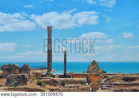 Columns Of The Roman Punic Wars. Anthony Terms In The Excavations Of Carthage. Tunisia 18 06 2019, C