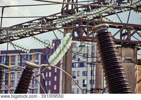Power Plant Equipment. Power Switch, Circuit Breakers And High Voltage Switches, Close-up, Lifestyle