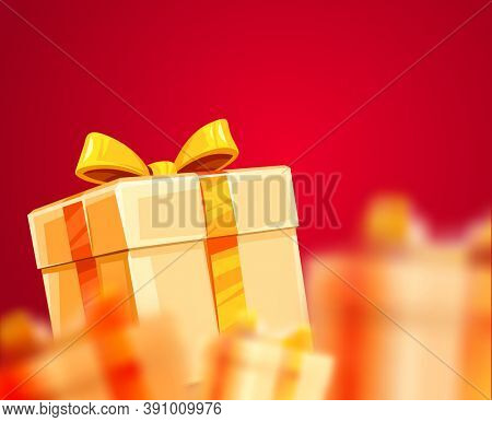 Christmas holiday gifts grand boxes packaging with golden ribbons and bows ,. 3D illustration.