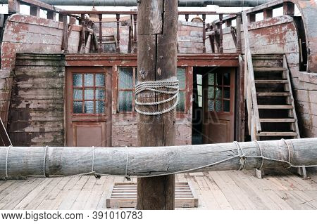 Wooden Mast On An Ancient Sailing Ship. Deck Of An Old Pirate Frigate., Lifestyle
