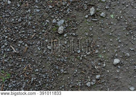 Small Sharp Rocks In Dirty Mud Ground Texture With Small Wooden Sticks