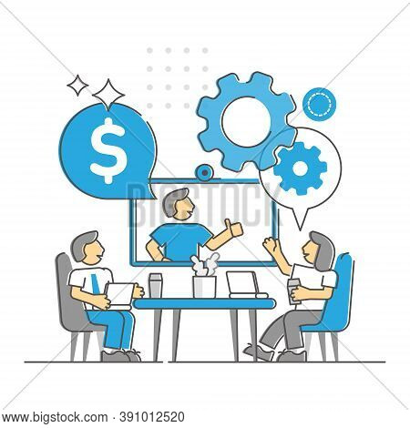 Business Meeting As Corporate Company Appointment Monocolor Outline Concept. Businessman Discussion