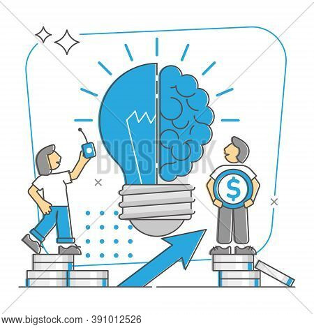 Business Idea As Creative Or Profitable Innovation Monocolor Outline Concept. Work With Breakthrough