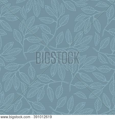 Seamless Pattern With Elm Tree Branches And Leaves On Blue Background For Surface Design And Other D