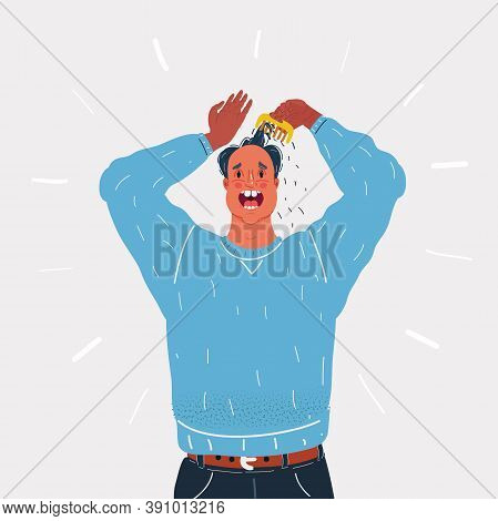 Vector Illustration Of Man Very Stressed Wih Him Loosing Hair On White Background.