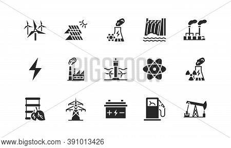 Power Plant Flat Glyph Icons Set. Energy Generation Station. Vector Illustration Alternative Renewab