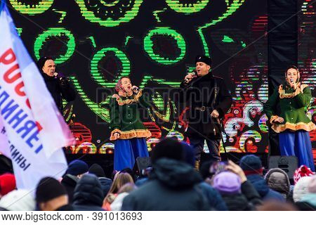 Saint Petersburg, Russia-november 4, 2019: Russian Holiday National Unity Day. Cossack Choir In Nati