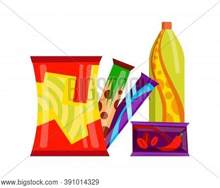 Snack Product Set. Fast Food Snacks Drinks And Sweet Bars Isolated On White Background. Classic Fast