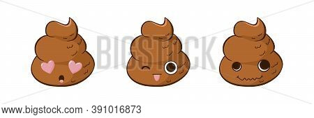 Funny Poop Emoji Vector Set In Love, Teasing And Crazy. Cute Poo Stickers With Expressions.