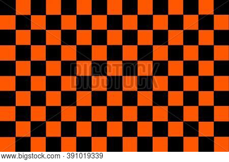 Black Orange Checkered Background. Space For Graphic Design And Creative Ideas. Checkered Texture. C