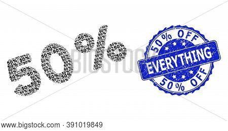 50 Percent Off Everything Unclean Round Stamp Seal And Vector Recursive Composition 50 Percents. Blu