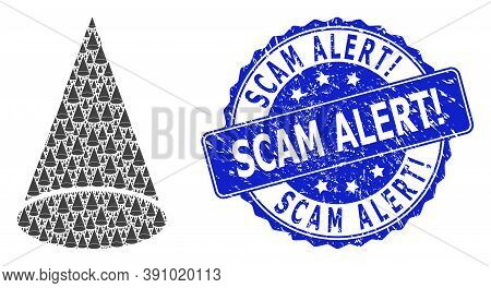 Scam Alert Exclamation Dirty Round Stamp Seal And Vector Recursive Mosaic Cone Figure. Blue Stamp Se