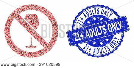 21 Plus Adults Only Scratched Round Seal Print And Vector Fractal Collage Forbidden Wine. Blue Stamp