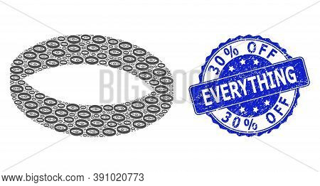 30 Percent Off Everything Grunge Round Stamp Seal And Vector Recursive Composition Gold Ring. Blue S