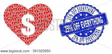 25 Percent Off Everything Scratched Round Stamp Seal And Vector Recursion Collage Love Price. Blue S