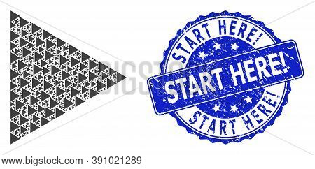 Start Here Exclamation Dirty Round Seal Imitation And Vector Recursive Collage Play Function. Blue S