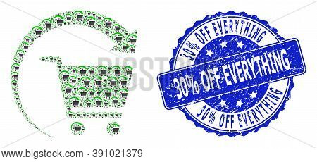 30 Percent Off Everything Corroded Round Seal Print And Vector Recursion Collage Repeat Shopping Ord