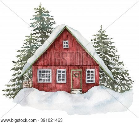 Watercolor Red House In Winter Forest. Hand Painted Christmas Illustration With Fir Trees And Snow I