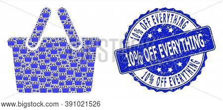10 Percent Off Everything Corroded Round Stamp Seal And Vector Recursion Collage Shopping Bag. Blue
