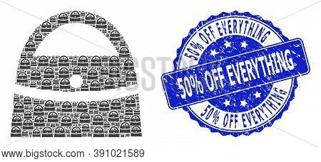 50 Percent Off Everything Dirty Round Stamp And Vector Recursive Collage Shopping Bag. Blue Seal Inc