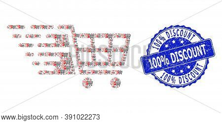 100 Percent Discount Scratched Round Stamp Seal And Vector Fractal Collage Supermarket Cart. Blue St