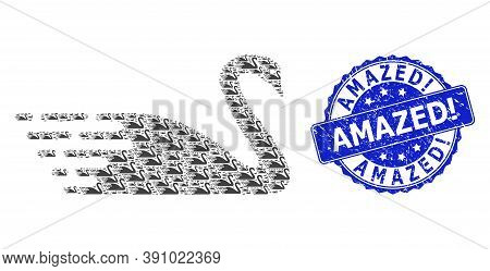 Amazed Exclamation Textured Round Stamp And Vector Fractal Mosaic Swan. Blue Stamp Contains Amazed E