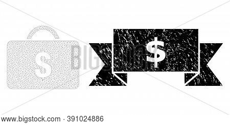Dollar Corroded Stamp Seal And Vector Business Case Mesh Model. Black Seal Has Dollar Caption Inside
