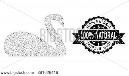 100 Percent Natural Unclean Seal And Vector Goose Mesh Structure. Black Seal Has 100 Percent Natural