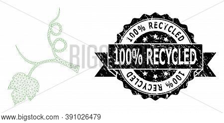 100 Percent Recycled Textured Stamp Seal And Vector Grape Sprout Mesh Structure. Black Stamp Seal Ha
