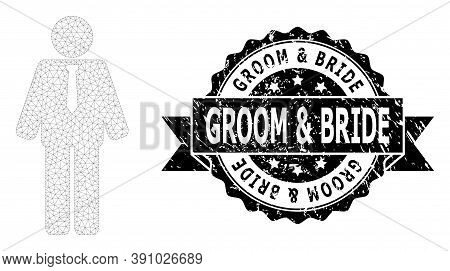 Groom And Bride Corroded Stamp And Vector Groom Mesh Model. Black Stamp Includes Groom And Bride Tit