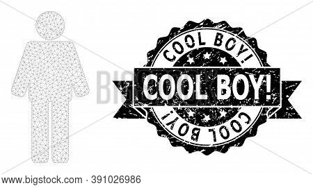 Cool Boy Exclamation Scratched Seal And Vector Man Mesh Model. Black Stamp Seal Contains Cool Boy Ex
