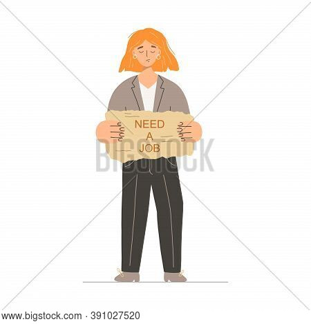 Sad Jobless Woman Standing And Holding A Sign