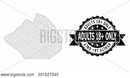 Adults 18 Plus Only Unclean Seal Imitation And Vector Rock Stone Mesh Model. Black Stamp Seal Contai