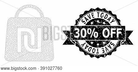 Save Today 30 Percent Off Dirty Stamp Seal And Vector Shekel Shopping Bag Mesh Model. Black Stamp Se