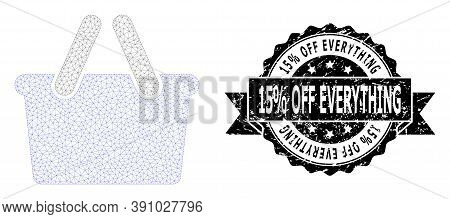 15 Percent Off Everything Rubber Seal And Vector Shopping Bag Mesh Structure. Black Stamp Includes 1
