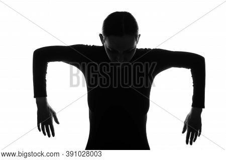 Puppet Concept, Black Silhouette Portrait Of Woman On White Background,