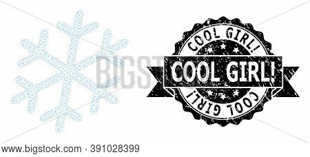 Cool Girl Exclamation Scratched Stamp And Vector Snowflake Mesh Model. Black Stamp Seal Contains Coo