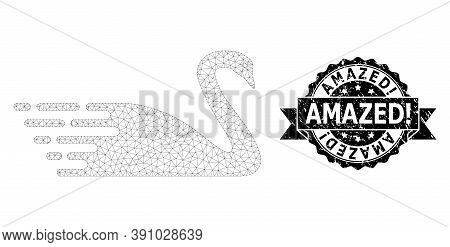 Amazed Exclamation Grunge Seal Print And Vector Swan Mesh Model. Black Stamp Has Amazed Exclamation