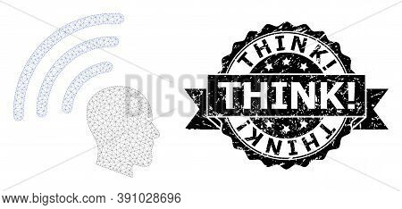 Think Exclamation Scratched Seal Print And Vector Telepathy Waves Mesh Structure. Black Seal Include